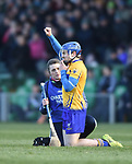 Shane O Donnell of  Clare is treated for an injury during their NHL quarter final against Limerick at the Gaelic Grounds. Photograph by John Kelly.