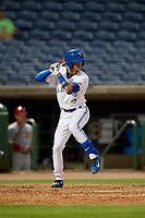 Dunedin Blue Jays second baseman Kevin Vicuna (3) at bat during a Florida State League game against the Clearwater Threshers on April 4, 2019 at Spectrum Field in Clearwater, Florida.  Dunedin defeated Clearwater 11-1.  (Mike Janes/Four Seam Images)