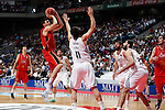 Real Madrid´s D. Diez and Mirotic and CAI Zaragoza´s A. Fontet (L) during 2013-14 Liga Endesa basketball match at Palacio de los Deportes stadium in Madrid, Spain. May 30, 2014. (ALTERPHOTOS/Victor Blanco)