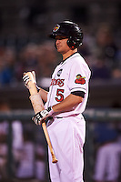 Rochester Red Wings left fielder Buck Britton (5) on deck during a game against the Columbus Clippers on June 14, 2016 at Frontier Field in Rochester, New York.  Rochester defeated Columbus 1-0.  (Mike Janes/Four Seam Images)