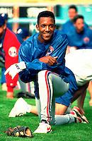 Pedro Martinez of the Montreal Expos during a 1995 season game at Dodger Stadium in Los Angeles,California.(Larry Goren/Four Seam Images)