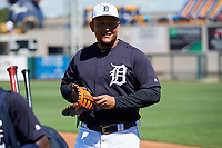 Detroit Tigers first baseman Miguel Cabrera (24) before a Grapefruit League Spring Training game against the Atlanta Braves on March 2, 2019 at Publix Field at Joker Marchant Stadium in Lakeland, Florida.  Tigers defeated the Braves 7-4.  (Mike Janes/Four Seam Images)