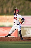 Danville Braves relief pitcher Jesus Heredia (36) in action against the Elizabethton Twins at American Legion Post 325 Field on July 1, 2017 in Danville, Virginia.  The Twins defeated the Braves 7-4.  (Brian Westerholt/Four Seam Images)