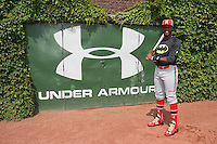 Demi Orimoloye (27) of St. Matthew High School in Orleans, Ontario, Canada poses for a photo during practice before the Under Armour All-American Game on August 16, 2014 at Wrigley Field in Chicago, Illinois.  (Mike Janes/Four Seam Images)
