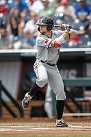 Texas Tech Red Raiders infielder Easton Murrell (19) at bat during Game 11 of the NCAA College World Series against the Michigan Wolverines on June 21, 2019 at TD Ameritrade Park in Omaha, Nebraska. Michigan defeated Texas Tech 15-3 and is headed to the CWS Finals. (Andrew Woolley/Four Seam Images)