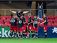 WASHINGTON, DC - APRIL 17: Russell Canouse #6 of D.C. United celebrates his goal with teammates during a game between New York City FC and D.C. United at Audi Field on April 17, 2021 in Washington, DC.