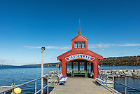 Seneca Lake boathouse, Watkins Glen, New York, USA