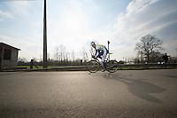 3 Days of De Panne.stage 1: Middelkerke - Zottegem..Tomas Vaitkus (LTU) eying me at high speed after a corner