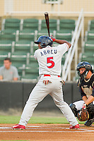 Miguel Abreu (5) of the Lakewood BlueClaws at bat against the Kannapolis Intimidators at CMC-Northeast Stadium on August 14, 2013 in Kannapolis, North Carolina.  The Intimidators defeated the BlueClaws 10-2.  (Brian Westerholt/Four Seam Images)