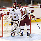 Parker Milner (BC - 35), Chris Kreider (BC - 19) - The Boston College Eagles defeated the Merrimack College Warriors 4-3 on Friday, October 30, 2009, at Conte Forum in Chestnut Hill, Massachusetts.