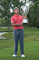 30th August 2020, Olympia Fields, Illinois, USA; Jon Rahm of Spain celebrates with the J.D. Wadley trophy after winning on the first sudden-death playoff hole against Dustin Johnson (not pictured) during the final round of the BMW Championship on the North Course at Olympia Fields Country Club