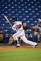 Mississippi Braves center fielder Michael Reed (28) hits a single during a game against the Mobile BayBears on May 7, 2018 at Trustmark park in Pearl, Mississippi.  Mobile defeated Mississippi 5-0.  (Mike Janes/Four Seam Images)