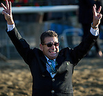 JUNE 6, 2015: American Pharoah assistant trainer Jimmy Barnes celebrates after American Pharoah becomes the 12th horse to win the Triple Crown at Belmont Park in New York, NY. Jon Durr/ESW/CSM