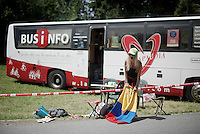 yelled her lungs out and then amped that up via a PA next to the bus<br /> <br /> Stage 18 (ITT) - Sallanches › Megève (17km)<br /> 103rd Tour de France 2016