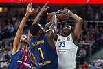 Real Madrid Trey Thompkins and FC Barcelona Lassa Adam Hanga and Kevin Seraphin during Turkish Airlines Euroleague match between Real Madrid and FC Barcelona Lassa at Wizink Center in Madrid, Spain. December 14, 2017. (ALTERPHOTOS/Borja B.Hojas)