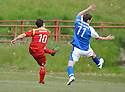 Albion get a penalty after Scott Chaplain's shot hits the hand of Stranraer's Grant Gallagher ....