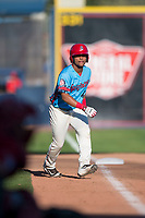 Spokane Indians second baseman Cristian Inoa (4) takes a lead off third base during a Northwest League game against the Vancouver Canadians at Avista Stadium on September 2, 2018 in Spokane, Washington. The Spokane Indians defeated the Vancouver Canadians by a score of 3-1. (Zachary Lucy/Four Seam Images)