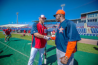 5 March 2013: Washington Nationals outfielder Bryce Harper greets his former third base coach, Bo Porter, now the Manager of the Houston Astros, prior a Spring Training game against the Astros at Space Coast Stadium in Viera, Florida. The Nationals defeated the Astros 7-1 in Grapefruit League play. Mandatory Credit: Ed Wolfstein Photo *** RAW (NEF) Image File Available ***