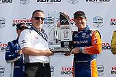 HPD President Ted Klaus, Felix Rosenqvist, Chip Ganassi Racing Honda, podium, Scott Dixon, Chip Ganassi Racing Honda,
