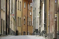 Quiet back street in Old Town, an historic part of Stockhom.