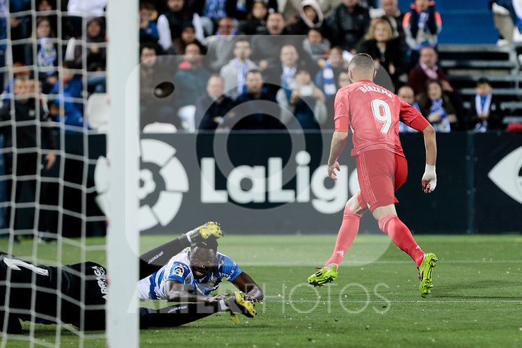 Real Madrid's Karim Benzema celebrates goal during La Liga match between CD Leganes and Real Madrid at Butarque Stadium in Leganes, Spain. April 15, 2019. (ALTERPHOTOS/A. Perez Meca)