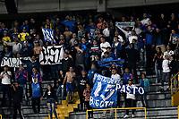 BOGOTÁ - COLOMBIA, 15-08-2018: Hinchas de Millonarios (COL), animan a su equipo durante partido de vuelta entre Millonarios (COL) y General Díaz (PAR), de la segunda fase por la Copa Conmebol Sudamericana 2018, en el estadio Nemesio Camacho El Campin, de la ciudad de Bogotá. / Fans of Millonarios (COL), cheer for their team during a match of the second leg between Millonarios (COL) and General Diaz (PAR), of the second phase for the Conmebol Sudamericana Cup 2018 in the Nemesio Camacho El Campin stadium in Bogota city. VizzorImage / Luis Ramirez / Staff.