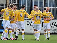 KVC Wingene - KSC Wielsbeke : vreugde bij Wielsbeke na het vroege doelpunt van Olivier Vanwijnsberghe (rechts)<br /> foto VDB / Bart Vandenbroucke