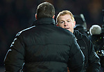 St Johnstone v Celtic.....26.12.13   SPFL<br /> Neil Lennon shakes hands with Tommy Wright at full time<br /> Picture by Graeme Hart.<br /> Copyright Perthshire Picture Agency<br /> Tel: 01738 623350  Mobile: 07990 594431