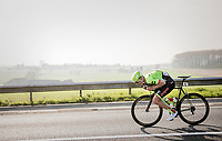 Sep Vanmarcke (BEL Cannondale-Drapac) in a tuck-speed-position doing a 'froomey' down towards Ronse<br /> <br /> 60th E3 Harelbeke (1.UWT)<br /> 1day race: Harelbeke › Harelbeke - BEL (206km)
