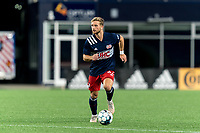 FOXBOROUGH, MA - SEPTEMBER 5: Pierre Cayet #44 of New England Revolution II brings the ball forward during a game between Tormenta FC and New England Revolution II at Gillette Stadium on September 5, 2021 in Foxborough, Massachusetts.