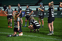 Hawkes Bay players regroup after a Cyclones try during the 2021 Farah Palmer Cup women's rugby match between Manawatu Cyclones and Hawkes Bay Tuis at CET Stadium in Palmerston North, New Zealand on Friday, 6 August 2021 Photo: Dave Lintott / lintottphoto.co.nz