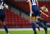 21st September 2021; Hampden Park, Glasgow, Scotland: FIFA Womens World Cup qualifying, Scotland versus Faroe Islands; Claire Emslie of Scotland puts Scotland into an 7-1 lead in the 84th minute with a free kick