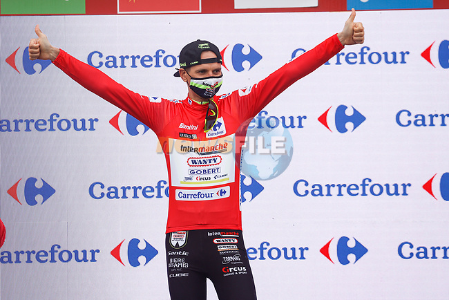 Rein Taaramäe (EST) Intermarché-Wanty-Gobert Matériaux from the breakaway wins Stage 3 and takes over the race leaders Red Jersey of La Vuelta d'Espana 2021, running 202.8km from Santo Domingo de Silos to Picon Blanco, Spain. 16th August 2021.    <br /> Picture: Luis Angel Gomez/Photogomezsport | Cyclefile<br /> <br /> All photos usage must carry mandatory copyright credit (© Cyclefile | Luis Angel Gomez/Photogomezsport)