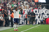 LAS VEGAS, NV - AUGUST 1: Reggie Cannon #2 of the United States on a throw in during a game between Mexico and USMNT at Allegiant Stadium on August 1, 2021 in Las Vegas, Nevada.