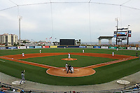 General view of the Pensacola Blue Wahoos stadium during the second game of a double header against the Biloxi Shuckers on April 26, 2015 at Pensacola Bayfront Stadium in Pensacola, Florida.  Pensacola defeated Biloxi 2-1.  (Mike Janes/Four Seam Images)