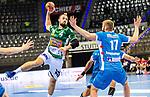 Tim Kneule (FRISCH AUF! Goeppingen #4) ; Samuel Roethlisberger (TVB Stuttgart #17) ; BGV Handball Cup 2020 Finaltag: TVB Stuttgart vs. FRISCH AUF Goeppingen am 13.09.2020 in Stuttgart (PORSCHE Arena), Baden-Wuerttemberg, Deutschland<br /> <br /> Foto © PIX-Sportfotos *** Foto ist honorarpflichtig! *** Auf Anfrage in hoeherer Qualitaet/Aufloesung. Belegexemplar erbeten. Veroeffentlichung ausschliesslich fuer journalistisch-publizistische Zwecke. For editorial use only.