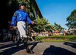 June 5, 2021: Jockey Luis Saez heads to the paddock winning the Belmont Stakes aboard Essential Quality on Belmont Stakes Day at Belmont Park in Elmont, New York. Scott Serio/Eclipse Sportswire/CSM