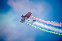double-decker tricolore flyby at the stage start<br /> <br /> Stage 20: Pordenone › Asiago (190km)<br /> 100th Giro d'Italia 2017
