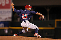 Lehigh Valley IronPigs pitcher Juan Perez #35 delivers a pitch during a game against the Rochester Red Wings at Frontier Field on August 18, 2011 in Rochester, New York.  Lehigh Valley defeated Rochester 11-1.  (Mike Janes/Four Seam Images)