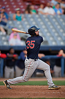 Lowell Spinners left fielder Devlin Granberg (35) hits a double during a game against the Connecticut Tigers on August 26, 2018 at Dodd Stadium in Norwich, Connecticut.  Connecticut defeated Lowell 11-3.  (Mike Janes/Four Seam Images)