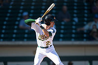 Mesa Solar Sox shortstop Eli White (21), of the Oakland Athletics organization, at bat during an Arizona Fall League game against the Peoria Javelinas at Sloan Park on November 6, 2018 in Mesa, Arizona. Mesa defeated Peoria 7-5 . (Zachary Lucy/Four Seam Images)