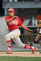 Johnson City catcher Ivan Castro (46) follows through on his swing versus Princeton at Hunnicutt Field in Princeton, WV, Friday, August 10, 2007.