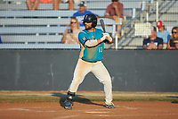 Jonathan Perez (13) (UNC Asheville) of the Mooresville Spinners at bat against the Dry Pond Blue Sox at Moor Park on July 2, 2020 in Mooresville, NC.  The Spinners defeated the Blue Sox 9-4. (Brian Westerholt/Four Seam Images)
