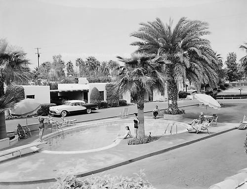 0301-487A. Lazy A Motel, 2635 East Van Buren, Phoenix Arizona. Hotel is now gone, building demolished. about 1957
