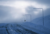 High winds and blowing snow over the Steese Highway, Eagle Summit, Alaska