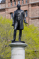 Toronto (ON) CANADA,  April , 2008-.Statue of George Brown  in Queens Park...urban park in the Downtown area of Toronto. Opened in 1860 by Edward, Prince of Wales, it was named in honour of Queen Victoria. The park is the site of the Ontario Legislature, which houses the Legislative Assembly of Ontario, and so the phrase Queen's Park is also frequently used to refer to the Government of Ontario....