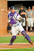 High Point Panthers catcher Josh Spano #21 makes a throw to first base against the VMI Keydets at Willard Stadium on March 30, 2012 in High Point, North Carolina.  The Panthers defeated the Keydets 11-3.  (Brian Westerholt/Four Seam Images)