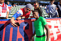 CARSON, CA - FEBRUARY 1: Sean Johnson #22 of the United States taking selfies and celebrating with fans during a game between Costa Rica and USMNT at Dignity Health Sports Park on February 1, 2020 in Carson, California.
