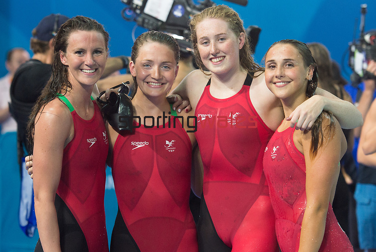 The Wales Womans 4x100 Relay team, (L-R Wales Jazz Carlin,  Ellena Jones Kathryn Greenslade, & Chloe Tutton )<br /> <br /> *This image must be credited to Ian Cook Sportingwales and can only be used in conjunction with this event only*<br /> <br /> 21st Commonwealth Games - Swimming - Day 3 - 07\04\2018 - Gold Coast Optus Aquatic centre - Gold Coast City - Australia
