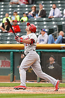 Randal Grichuk (21) of the Memphis Redbirds at bat against the Salt Lake Bees at Smith's Ballpark on June 18, 2014 in Salt Lake City, Utah.  (Stephen Smith/Four Seam Images)